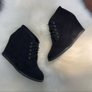 Forever 21 Black Lace Up Wedge Booties